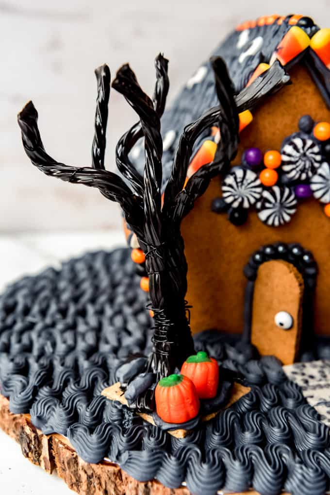 A spooky tree made from black licorice and wire.