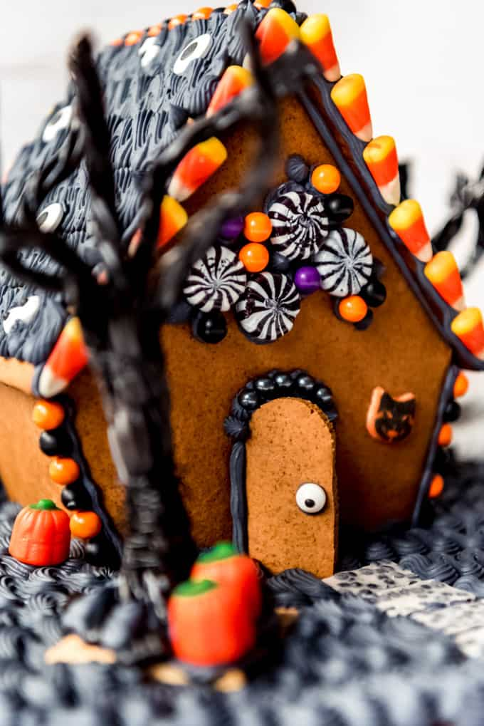 Candy details on a Halloween gingerbread house.
