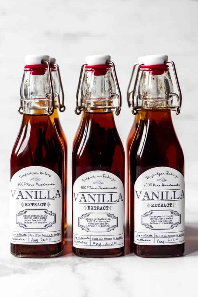 Rows of 8-ounce bottles of homemade vanilla extract.