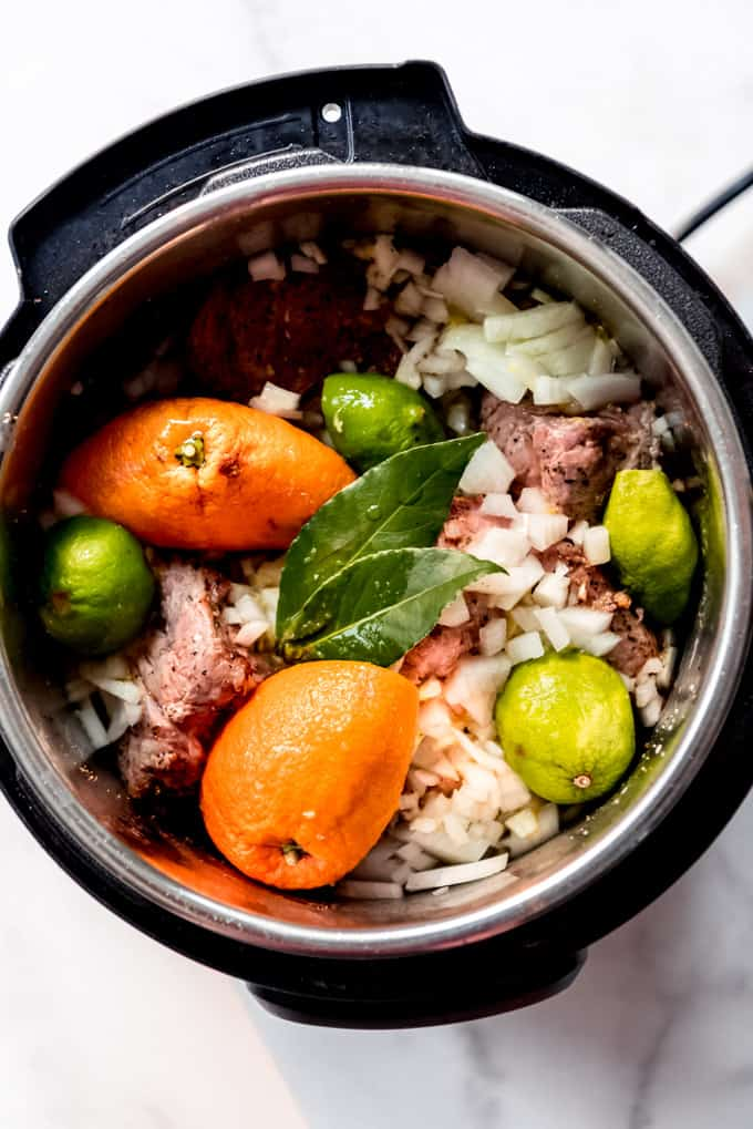 Carnitas ingredients in an instant pot.