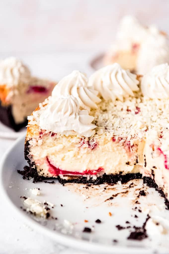 White Chocolate Raspberry Cheesecake side view