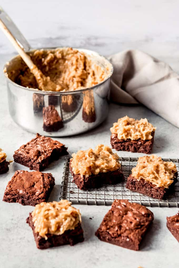 German Chocolate Brownie recipe cut into Squares