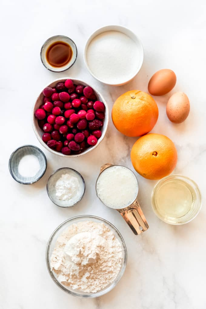 The ingredients for making cranberry orange quick bread.