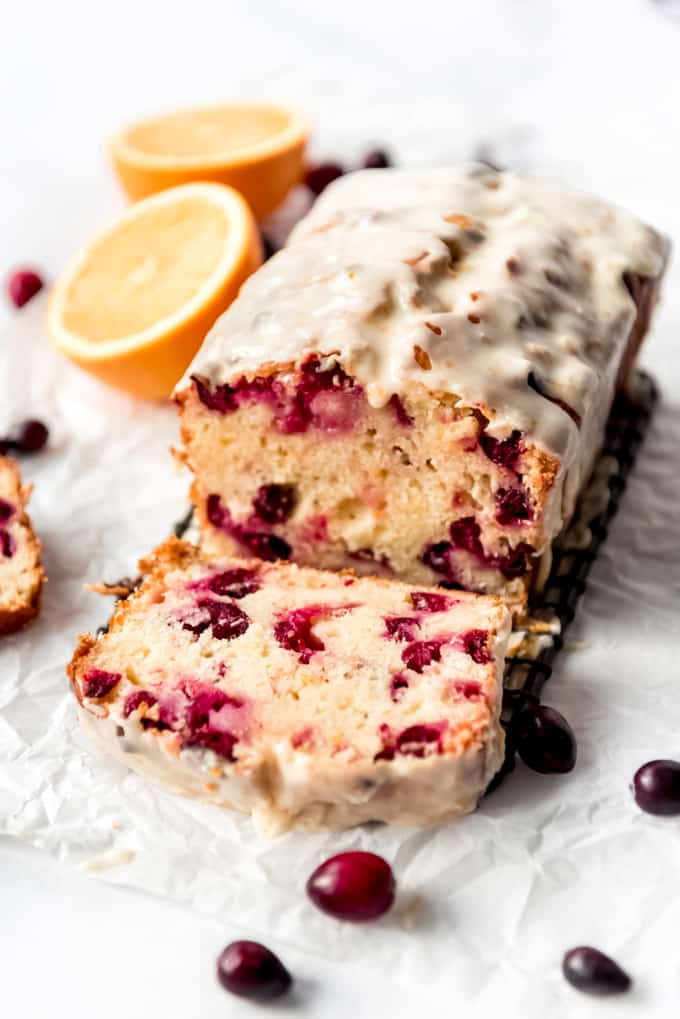Glazed cranberry orange bread made with fresh cranberries