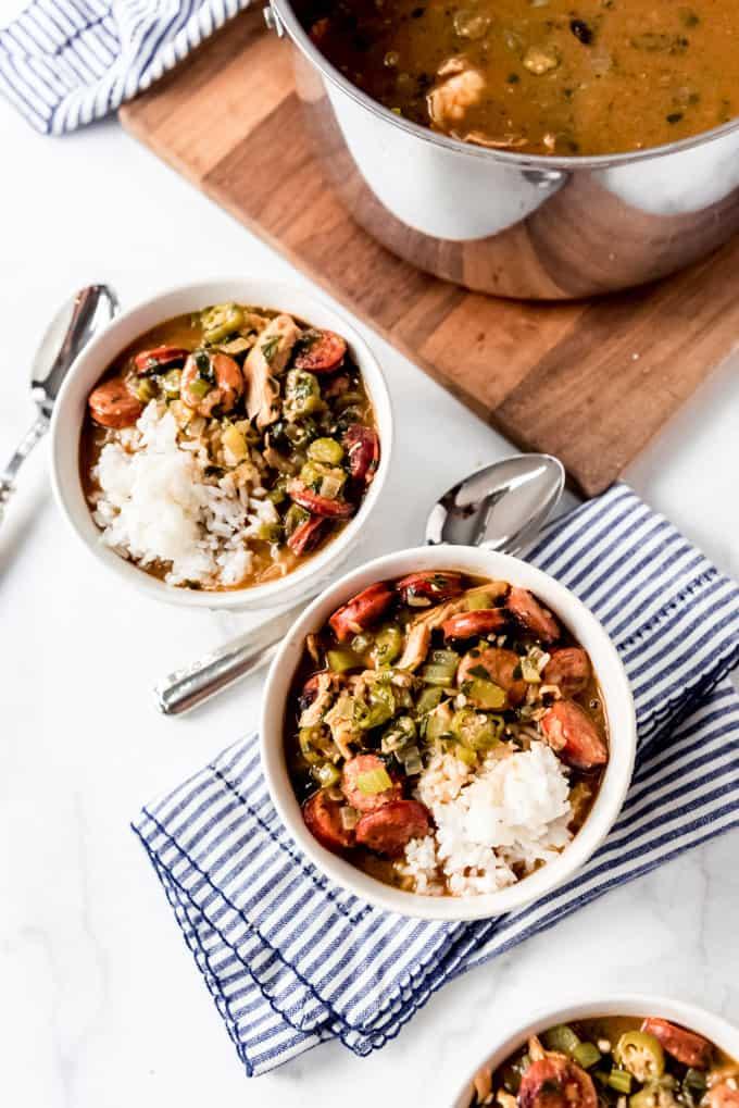 3 bowls of cajun gumbo stew