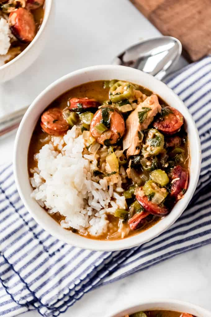 Bowl of cajun gumbo recipe