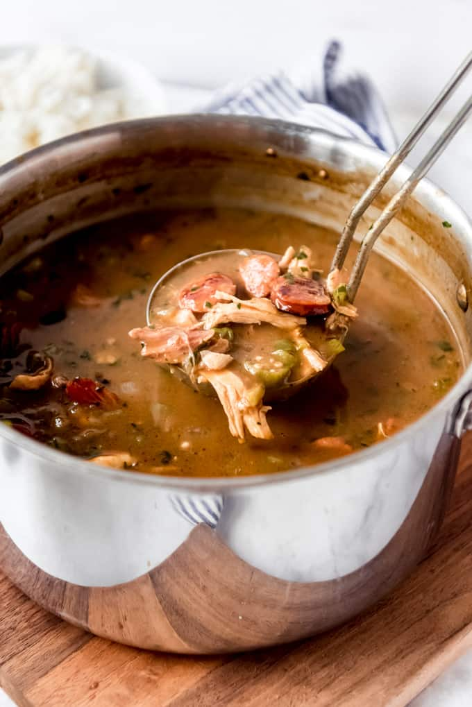 cajun gumbo recipe in pot ready to serve