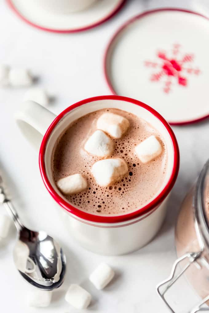 Bubbles on the top of a mug of hot cocoa.