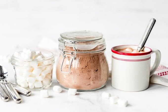 Marshmallows, hot cocoa mix, and a mug.