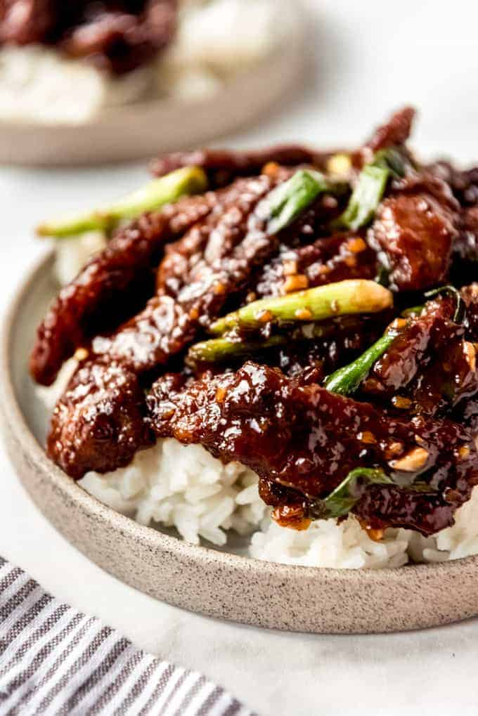 Mongolian Beef in bowl on rice