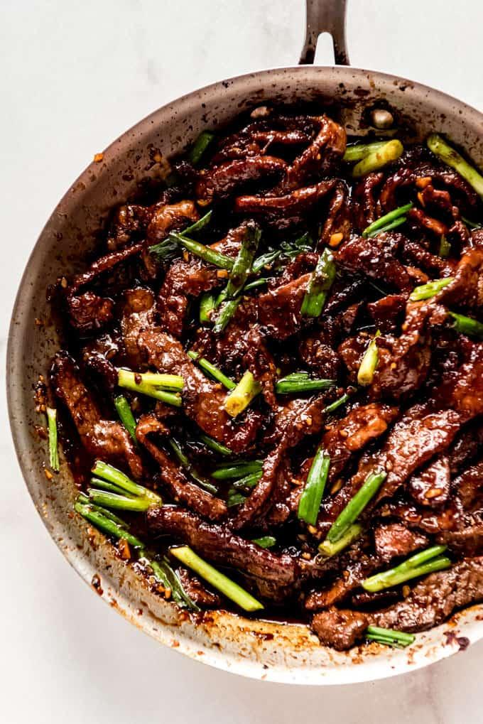 Mongolian Beef Recipe in pan