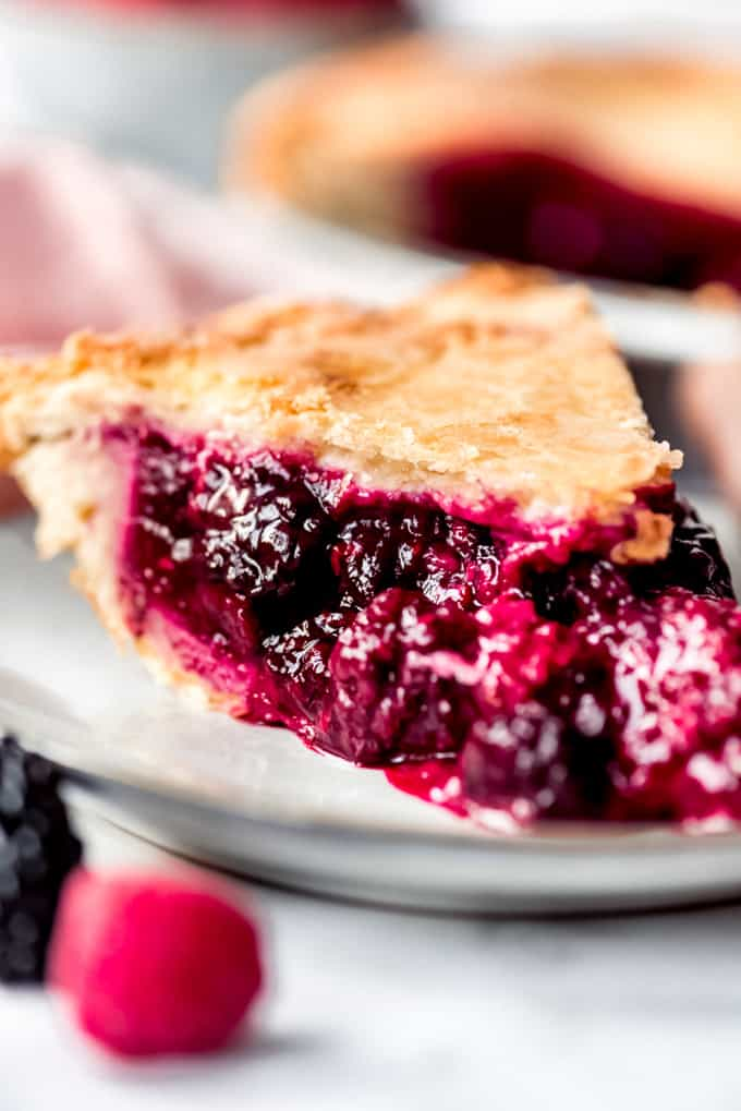 Raspberry Blackberry pie slice, side view