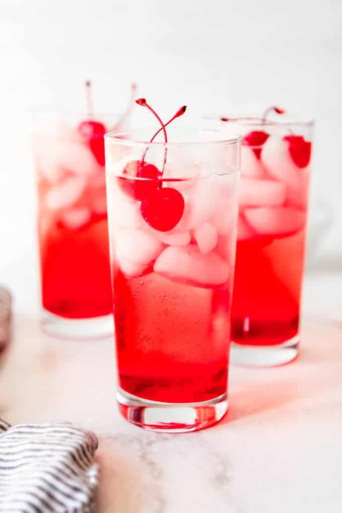 shirley temples garnished with cherries