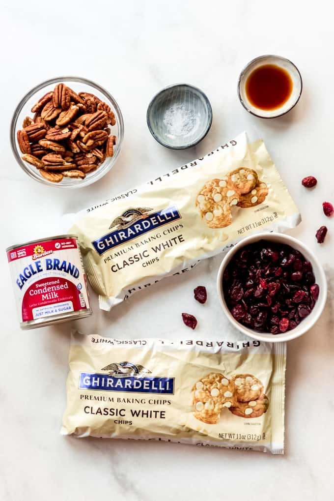 Ingredients for white chocolate cranberry fudge.