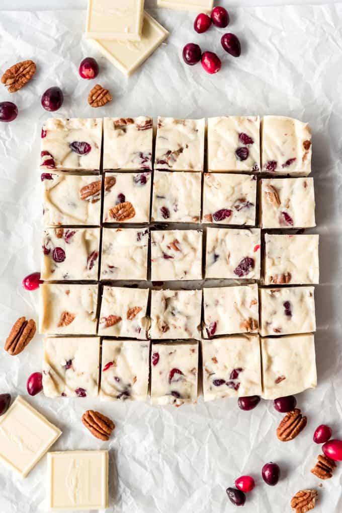 A batch of white chocolate fudge cut into squares.
