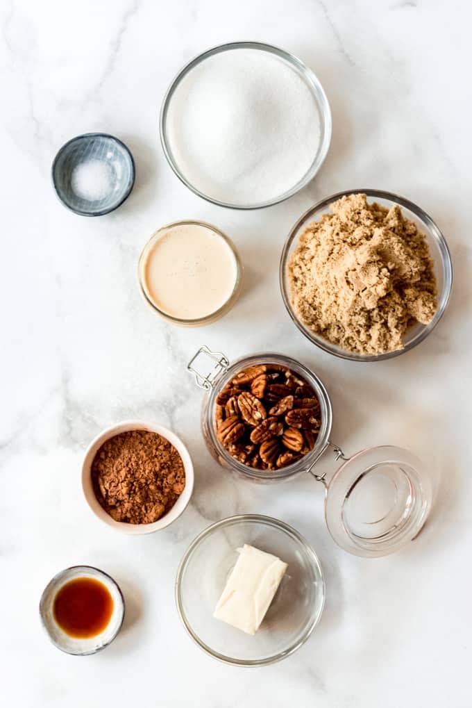 Praline ingredients in separate bowls.