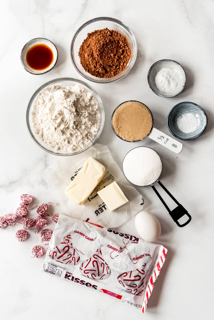 Ingredients for chocolate peppermint blossom cookies