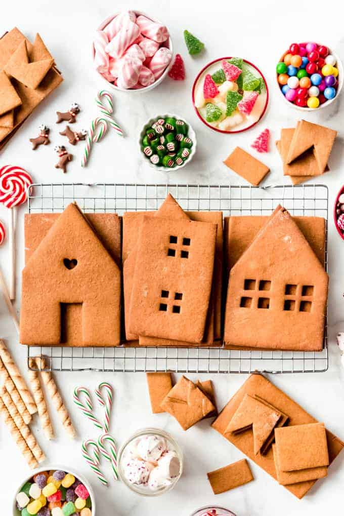 Cut out gingerbread house pieces.