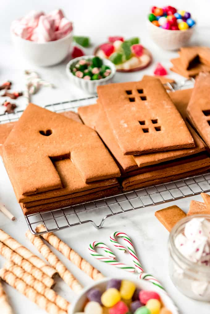 An unassembled gingerbread house.