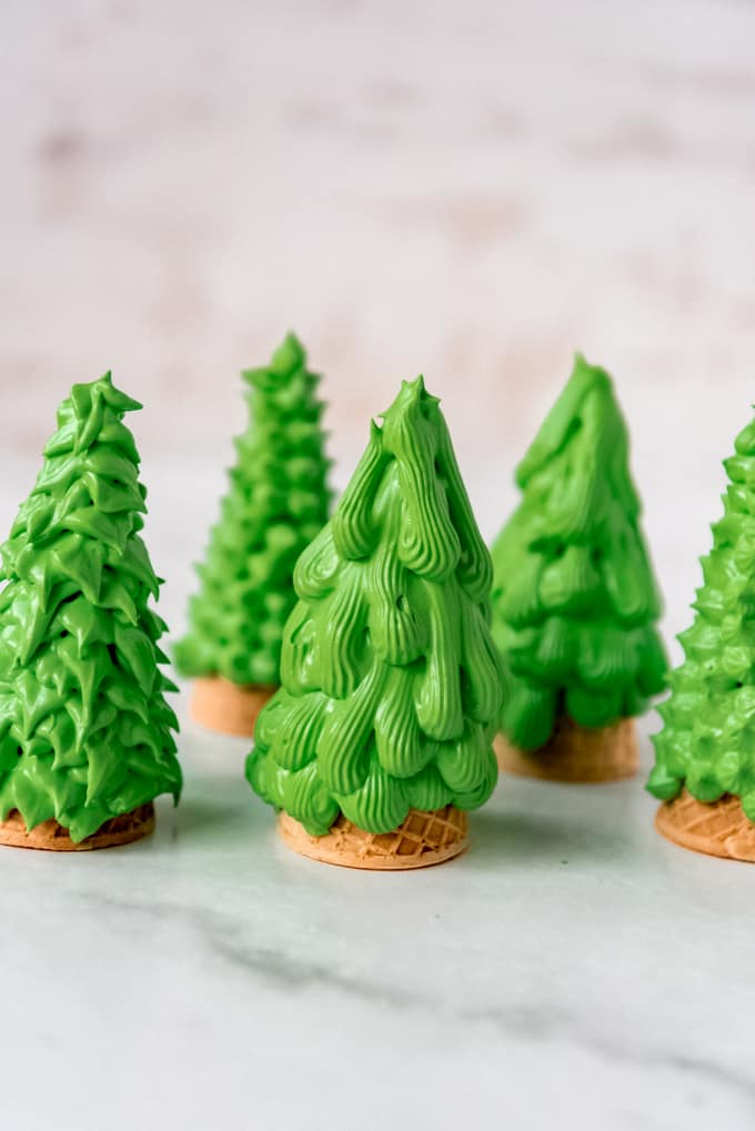 Christmas trees made from royal icing and sugar cones.