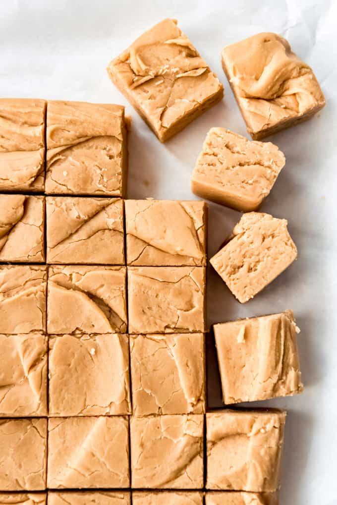 Peanut butter fudge cut into small squares.