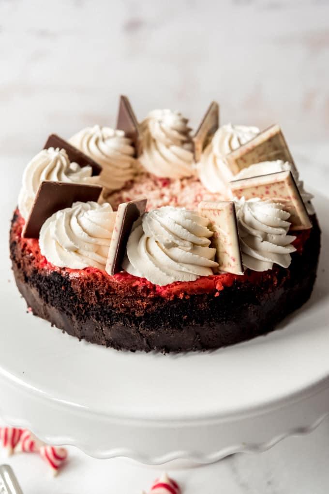 A whole peppermint bark cheesecake.