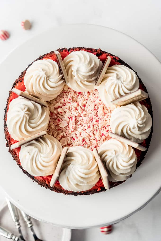 A cheescake decorated with Hershey's candy cane kisses, whipped cream, and Ghiradelli Peppermint Bark Squares.