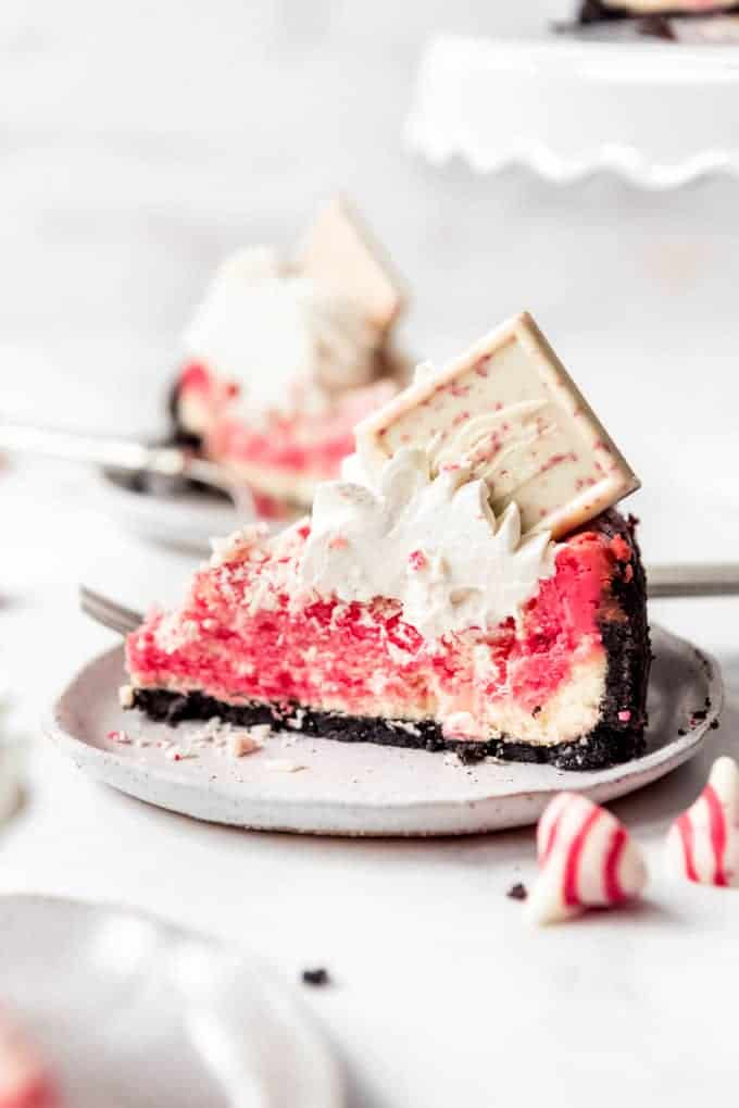 A slice of peppermint cheesecake.