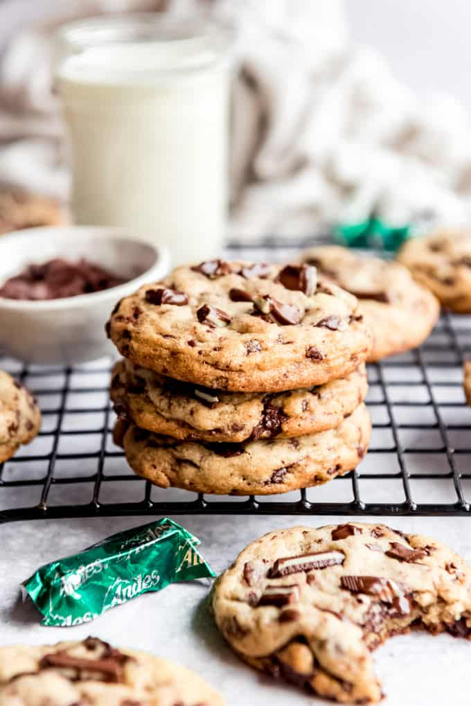 Stacked mint chocolate chip cookies.
