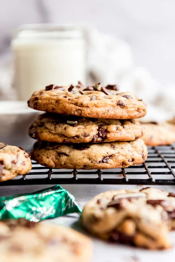 A stack of Andes Mint Cookies