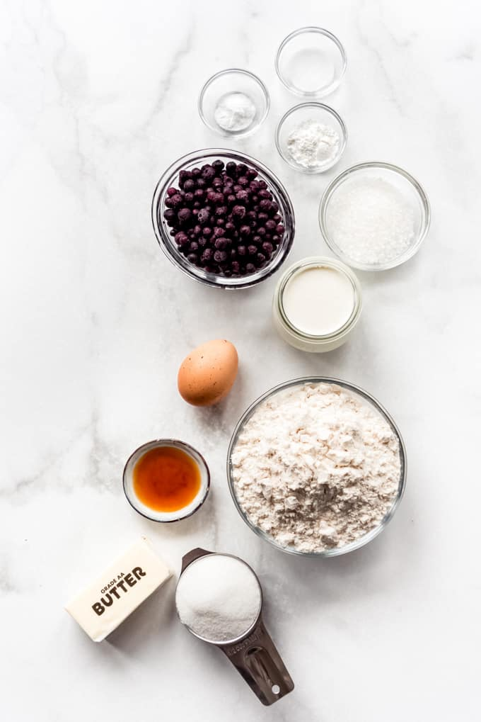 Ingredients for blueberry scones.