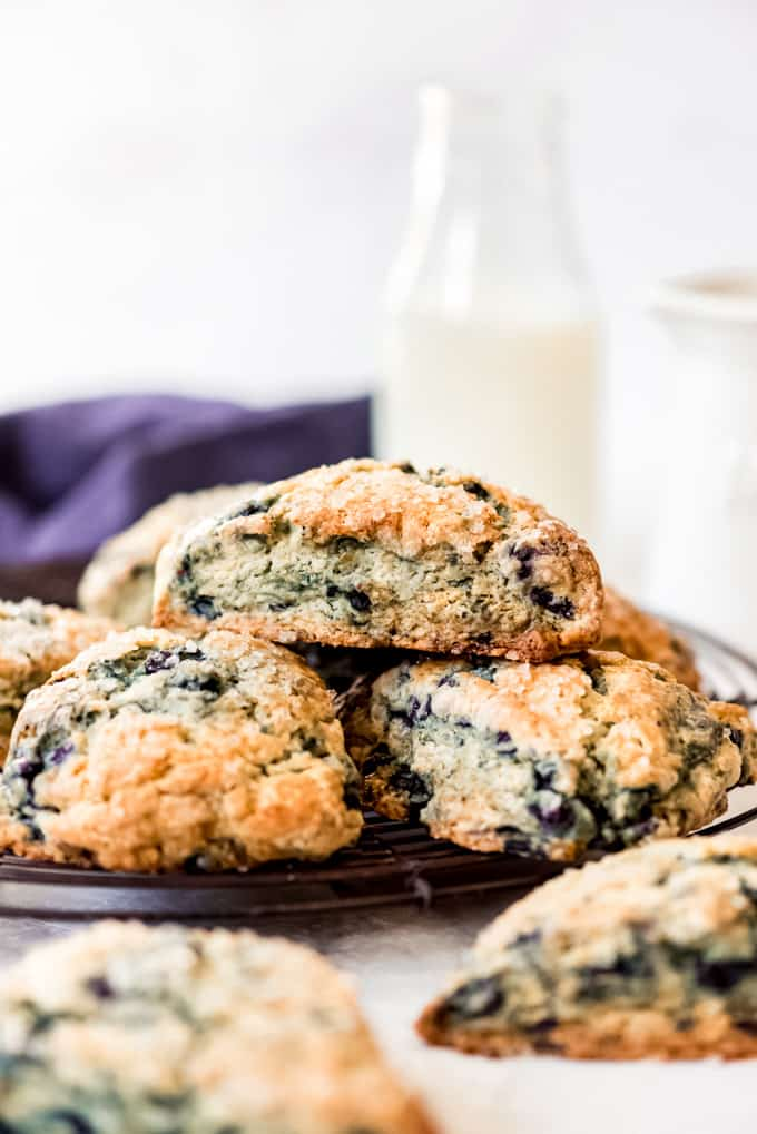 Homemade blueberry scones made with Maine wild blueberries.