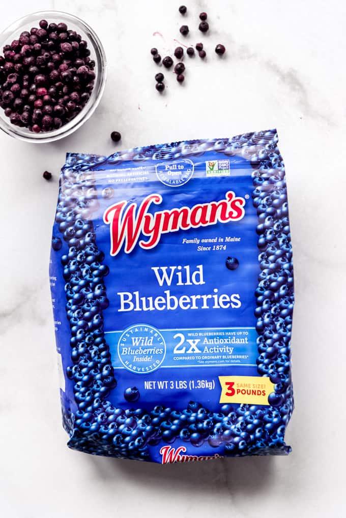A bag of Wyman's frozen wild blueberries.