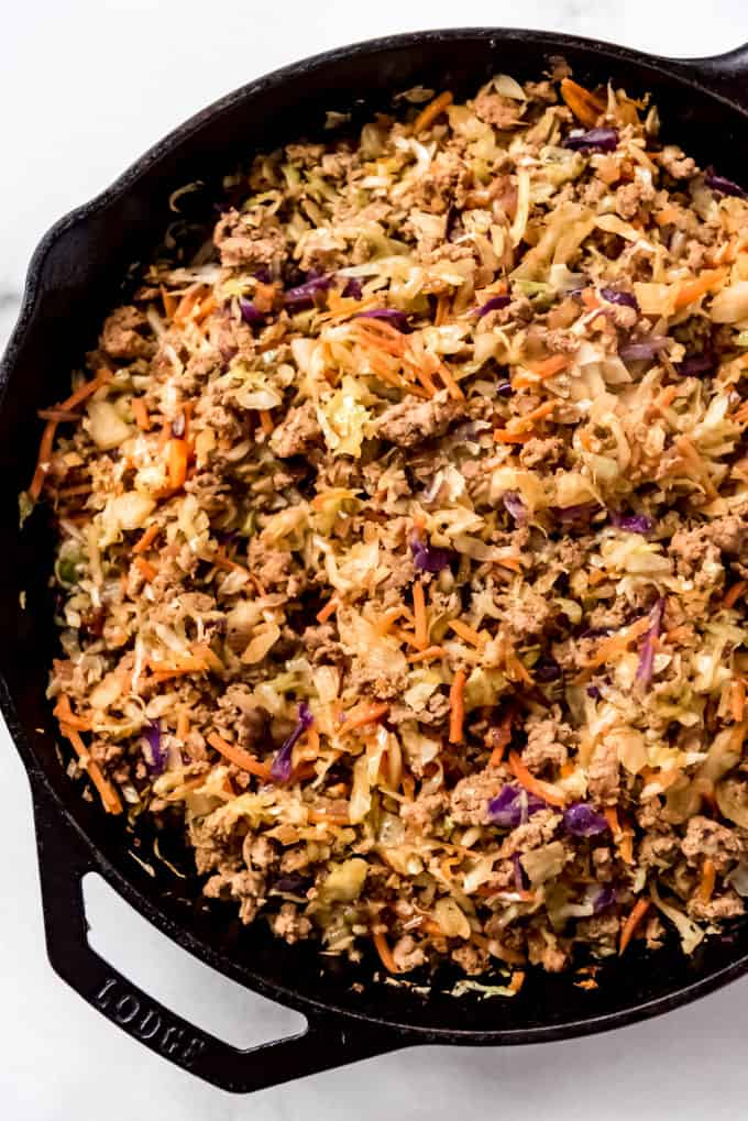 Egg Roll in a Bowl in a skillet