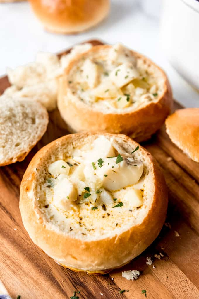 Soup in bread bowls.