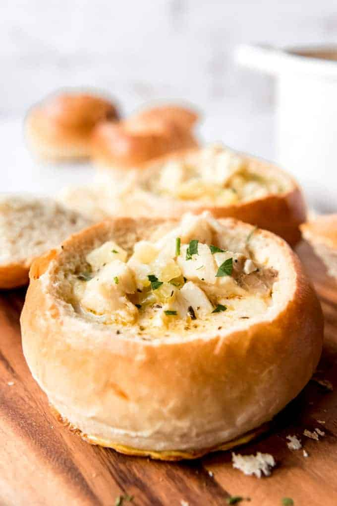Homemade Bread Bowl filled with New England fish chowder
