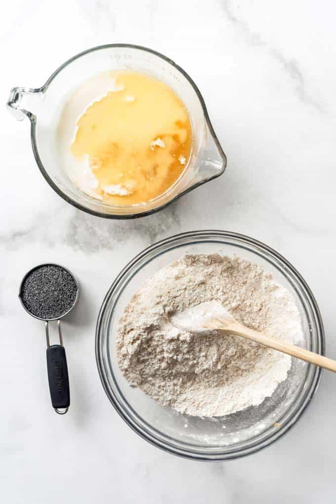Ingredients for lemon poppy seed pancake batter.
