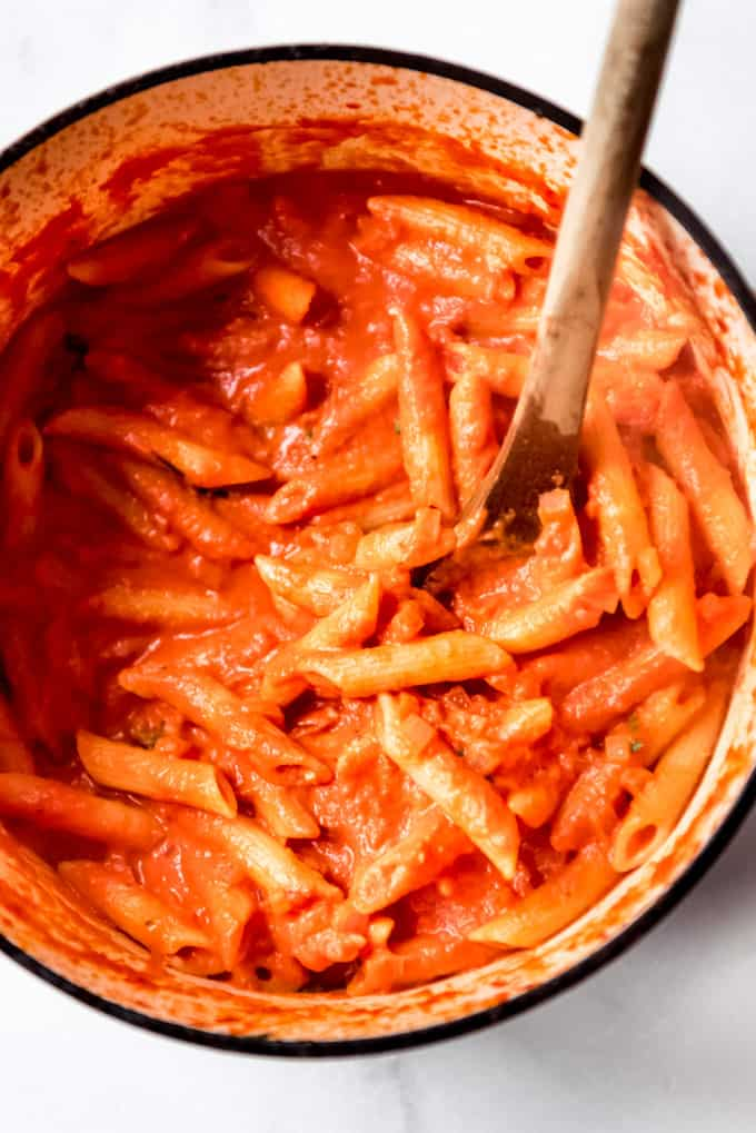 pot of penne alla vodka