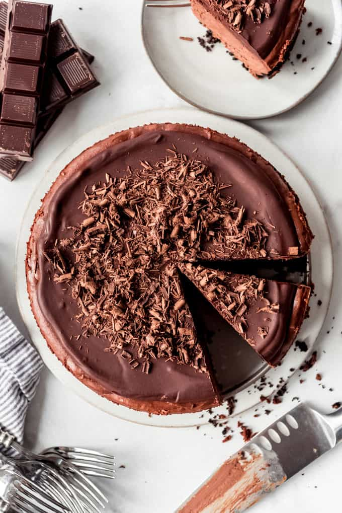 Triple Chocolate Cheesecake overhead, slice ready to serve