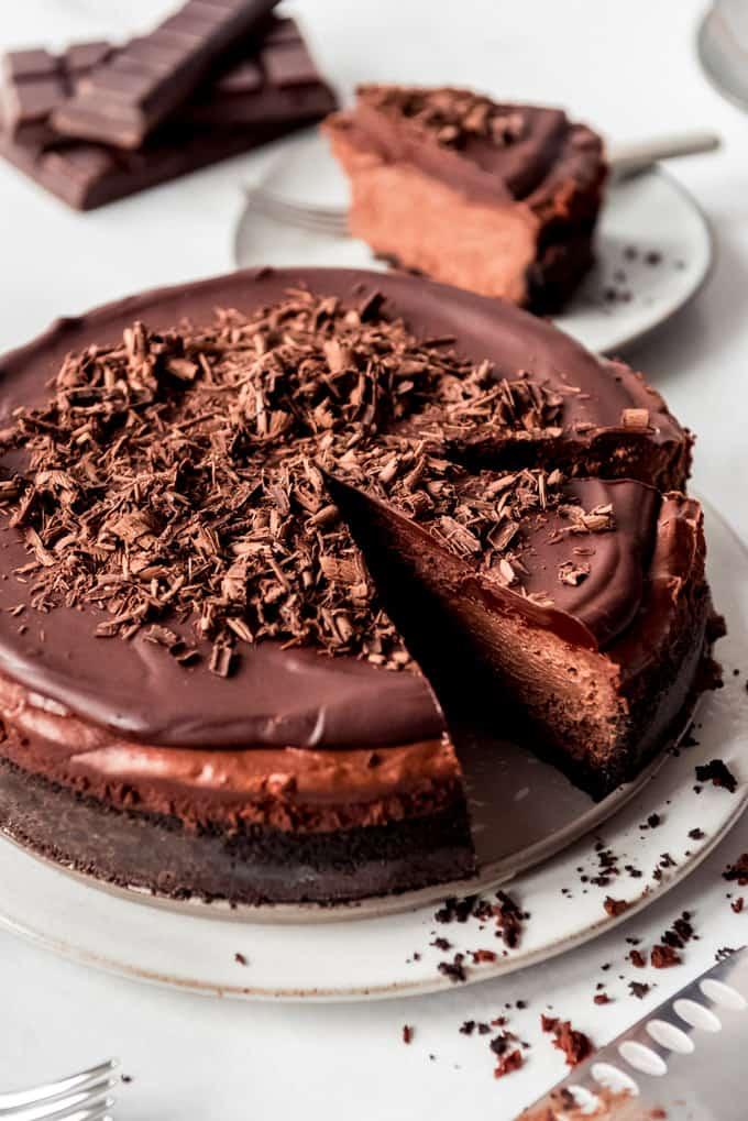 Triple Chocolate Cheesecake, 45° angle, slice ready to serve
