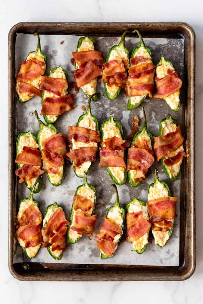 Cream Cheese filled jalapenos with bacon