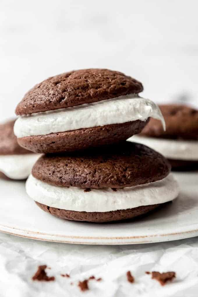 Two whoopie pies stacked on top of each other.