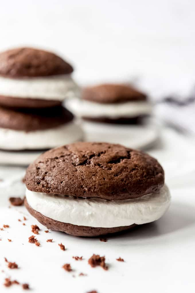 A whoopie pie filled with marshmallow fluff frosting.