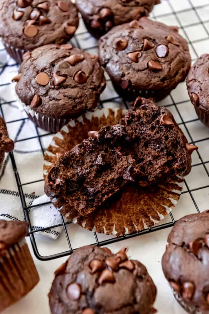 Inside a double chocolate muffin