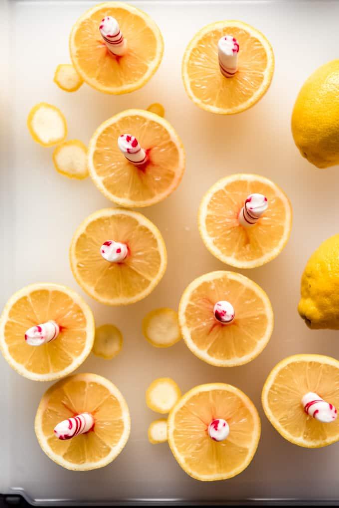 peppermint sticks stuck into sliced lemon halves