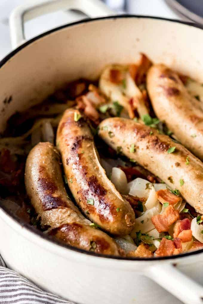 Banger sausages in a dutch oven.