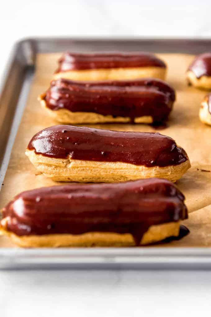 eclairs covered in chocolate ganache