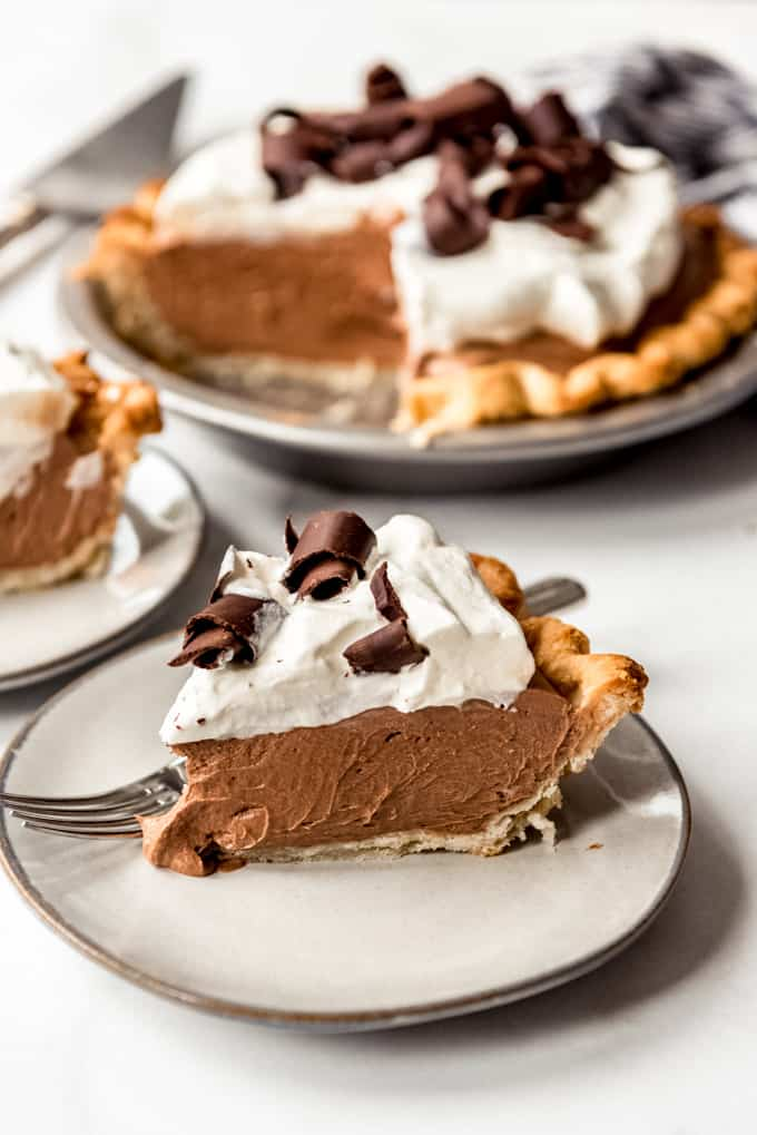a slice of chocolate french silk pie on a plate