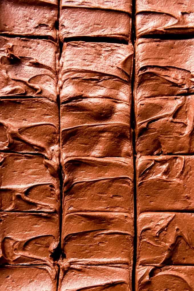 a close image of chocolate frosting on brownies that have been sliced into squares