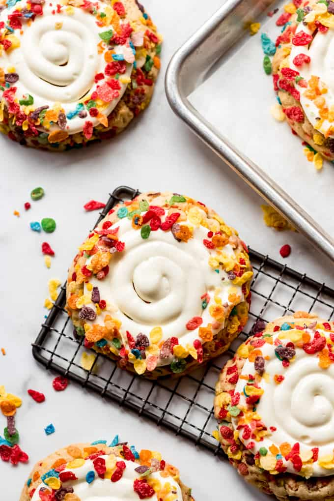 Frosted Fruity Pebble Cookies on cooling rack